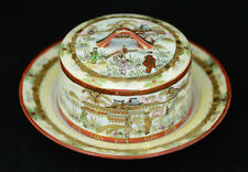 Nippon Hand Painted Gilded Japanese Village Scene Covered Cheese Butter Dish L6Y