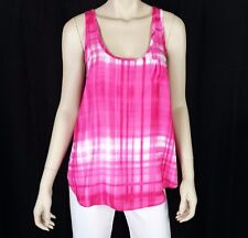 CALVIN KLEIN Women's Blouse Tank Top Sz M Sleeveless Pink & White Scoop Neck