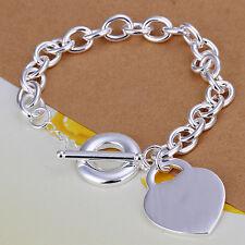 925 Stamped Sterling Silver Filled SF Heart Pendant Bracelet BL-A240