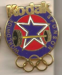 1996 Kodak Atlanta Olympic Pin Weightlifting USA Rings USOC