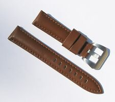 20mm Quality Genuine Leather Thick Padded Light Brown Watch Band - Size Large