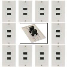 10x 1-Gang 2-Port HDMI Wall Plate Faceplate Coupler F/F Cable HDTV 1080p White
