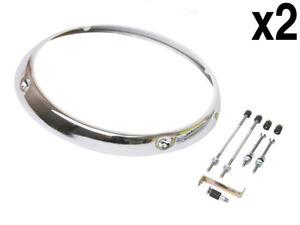 Porsche (68-86) Headlight Rim L+R (x2) Chrome H1 Type trim ring headlamp frame