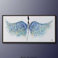 "Abstract painting 67"", Angel wings, Textured painting, impasto style, handmade"