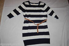 Womens Sweater Dress NAVY BLUE WHITE STRIPES 3/4 Sleeves BELT  L 12-14
