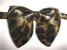 NEW Oversize Brown,Gold Metallic Leopard Bow tie Vintage style 70s Wedding Prom