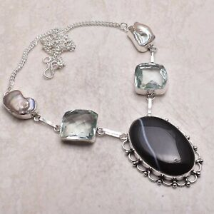 Botswana Agate White Topaz Ethnic Gift Handmade Necklace Jewelry 48 Gms AN 54708
