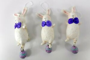 3 Midwest of Cannon Falls White Easter Bunny Ornaments Signed DW