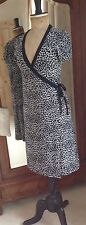 OASIS Wrap Dress Size 12, Black And White Animal Print, Short Sleeve, Smart