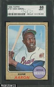 1968 Topps #110 Hank Aaron Atlanta Braves HOF SGC 8 NM/MT