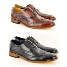 Mens Goor M925 Black Oxblood Tan 5 Eye Lace Capped Oxford Smart Formal Shoes