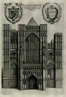 England London Westminster Abbey Western view facade Narthex 1655 engraved print