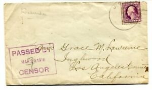 """USA 1918 3cents on """"PASSED BY CENSOR"""" cacheted cover USS Nebraska Virginia to LA"""