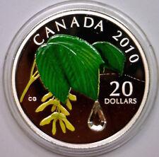 CANADA 2010 Color $20 Fine Silver Maple Leaf w/Swarovski Raindrop