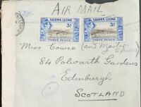 Sierra Leona. Sobre Yv 162(5). 1938. 3 p ultramar y negro, cinco sellos (tres a