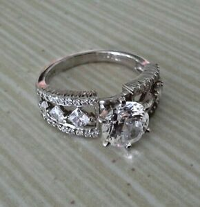 Sterling Silver Cubic Zirconia Engagement Ring 925 4.77g Size 8