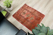 2x3 Geometric Red Tribal Hand Knotted Oriental Vintage Wool Traditional Area Rug