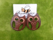 Laser cut wooden earrings an Owl in Indian rosewood woodland themed