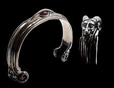 Sterling Silver Bighorn Baphomet Goat Ram Bracelet With Garnet Ram Lucifer