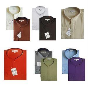 Mens Dress Shirt Mandarin Collar Hidden Button Style SG01
