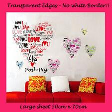 Love Hearts Children's Kid's High Quality Vinyl Wall Art Stickers 50cm x 70cm