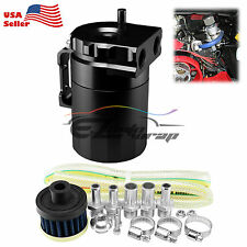 Black Aluminum Engine Oil Catch Reservoir Breather Tank Can Cylinder Filter #3