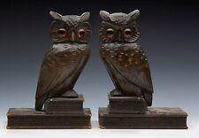 ANTIQUE PAIR BLACKFOREST OWL BOOKENDS C.1900