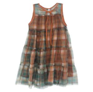Girls' Dresses Summer Sleeveless Plaid Vest Skirt Princess Skirt Mesh Skirt
