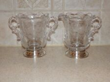 ELEGANT ERA GLASS CREAM & SUGAR SET WITH STERLING BASE FLORAL ETCHING UNKNOWN