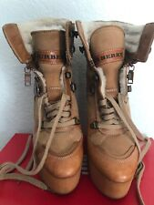 Burberry Tayport Leather Wedge Ankle Lace Up Boots Caramel Tan Sz 7