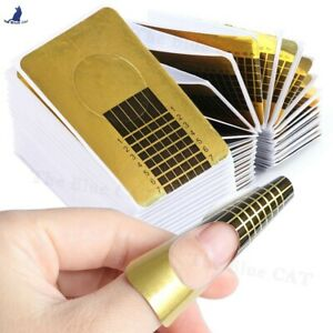 Gold Nail Forms Art Self Adhesive Extension Tip Sculpting Guide Acrylic UV Gel