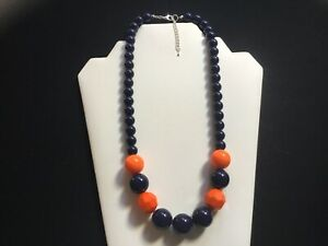 Women's Chunky Orange And Navy Bead Necklace