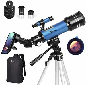 TELMU Telescope 70mm Aperture 400mm AZ Mount Astronomical Refracting Telescope