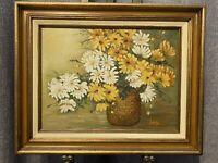 "Original Still Life Flowers Oil Painting By Lena  16"" x 20"" Framed"