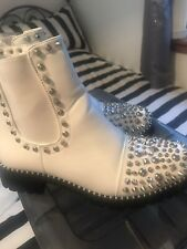 White Stud Ankle Boots