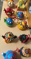 Mary Engelbriet Christmas  Porcelain Ornaments Teapot & Chair ( Set of 10 )