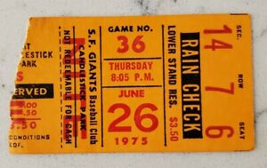 San Francisco Giants LA Dodgers Baseball Ticket Stub 6/26 1975 Ed Halicki Win CG