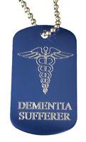Personnalisé Dementia Sufferer Alerte Médicale Id Bleu Sos Tag Gravé Gratuit