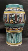 Vintage Moroccan Pottery Vase Geometric Design