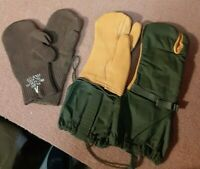 MILITARY LEATHER COLD WEATHER MITTENS (M) + TRIGGER FINGER WOOL INSERTS Size M