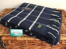 TWEEDMILL TEXTILES BRITISH MADE 100% PURE WOOL NAVY CHEQUERED BLANKET THROW RUG