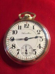 "Antique 1909 Hamilton  ""942"" 21j 18s Railroad Pocket Watch- Serviced-Runs Great"