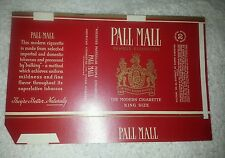NOS vintage Pall Mall unfolded cigarette pack wrapper King Size 1 (#8)