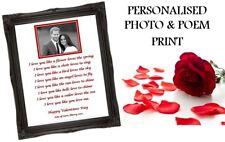Valentines Personalised Photo & Poem A4 Print Boyfriend Girlfriend Gift Card