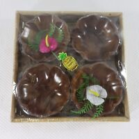 Vintage Aloha Hawaii Tiki Souvenir Wooden Nut Candy Bowls Wicker Basket New