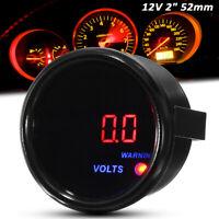 """Car Vehicle 2"""" 52mm Black Face Digital LED 8-18 V Volt Voltage Meter Gauge /"""