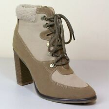 M&S Fur top HIGH HEEL Lace-Up ANKLE BOOTS ~ Size 7 ~ SAND Canvas & Suedette