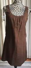 J. Crew Shift Piazza Dress Embossed Cotton Brown Lined Sleeveless Sz 2 (I753)