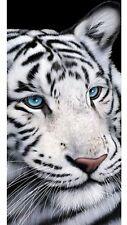 "White Tiger Blue Eyes Beach Towel 30"" X 60"" Tiger Towel"