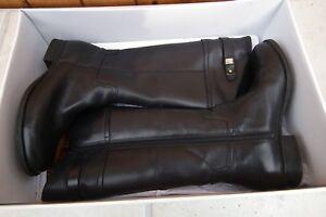 CLARKS 'Mimic Dance' Boots Black Leather Knee High Boots Size EU 37.5, UK 4.5